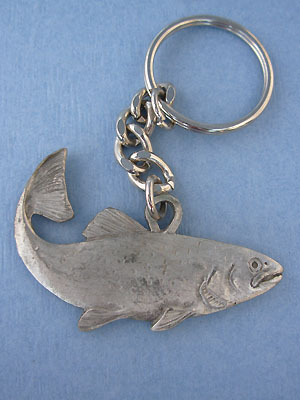 Salmon Keychain - Lead Free Pewter