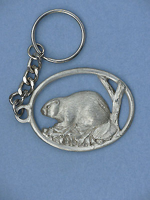 Beaver Keychain Lead Free Pewter