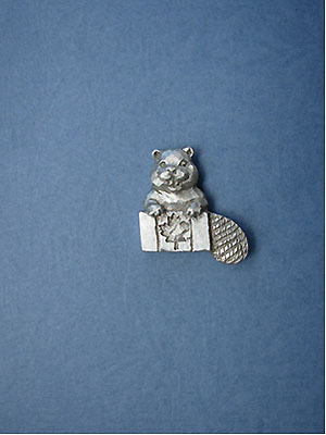 Beaver with Canadian Flag Lapel Pin Lead Free Pewter