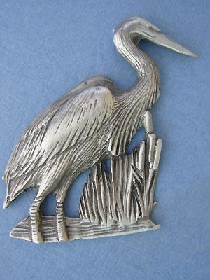 Heron Brooch Lead Free Pewter