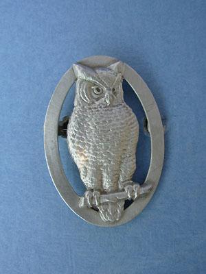Owl Brooch Lead Free Pewter