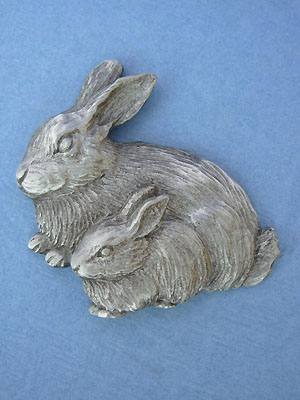 Bunny and Baby Brooch Lead Free Pewter