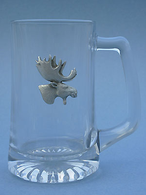 Moose Beer Mug Lead Free Pewter