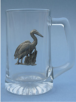 Blue Heron Beer Mug Lead Free Pewter
