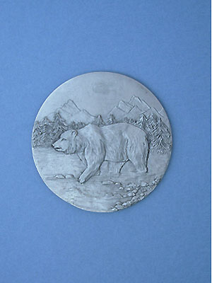 Walking Bear Coaster - Lead free Pewter