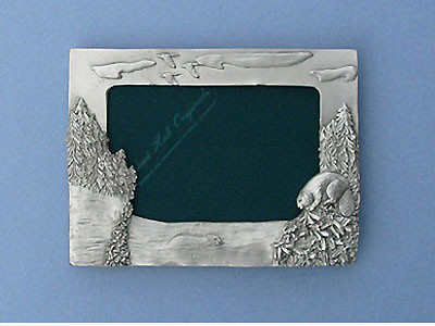 3.5x5 Beaver Picture Frame - Lead Free Pewter