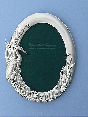 5x7 Blue Heron Oval Picture Frame - Lead Free Pewter