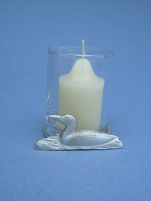 Loon Two Piece Votive Holder - Lead Free Pewter