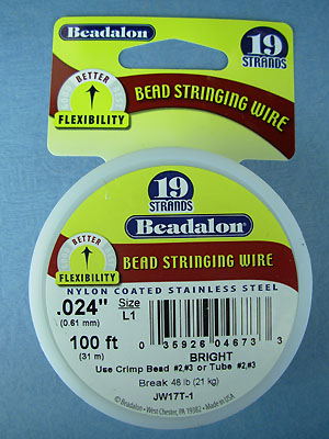 "19 Strand .024"" Bright Beadalon Wire - 100 ft."