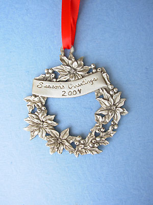 2004 Wreath Annual Ornament - Lead Free Pewter