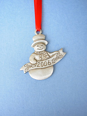 2006 Snowman Annual Christmas Ornament - Lead Free Pewter