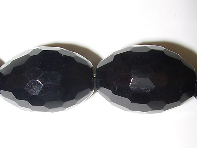 """13x18 Facetted Black Agate- 16"""" Strand"""