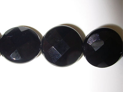 "15mm Facet Round Black Agate - 16"" Strand"