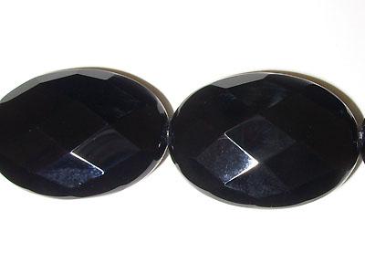 "18x25mm Facet Black Agate - 16"" Strand"