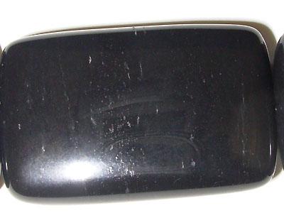 "Flat Rectangle Black Stone - 16"" Strand"