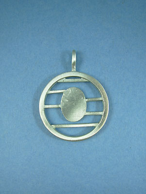 Small lined Circle Pendant - Lead Free Pewter