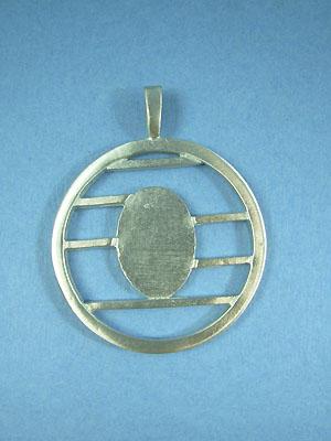 Large lined Circle Pendant - Lead Free Pendant