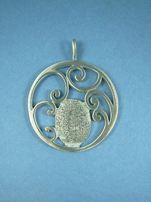 Large Fancy Scroll Pendant - Lead Free Pewter