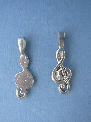 Treble Clef Beavertail - Pk of 3 - Lead Free Pewter