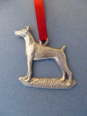 Doberman Ornament - Lead Free Pewter