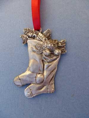 Lg. Christmas Stocking Ornament - Lead Free Pewter