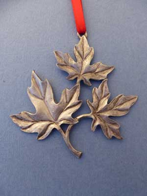 Lg. Maple Leaf Ornament - Lead Free Pewter