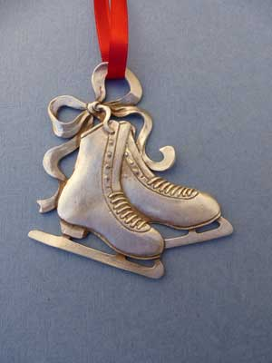 Lg. Double Skate Ornament - Lead Free Pewter