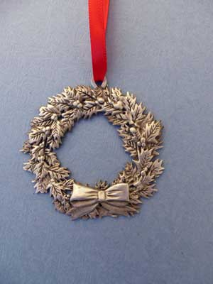 Lg. Wreath Ornament - Lead Free Pewter