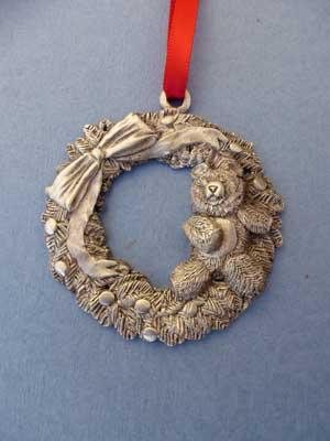 Teddy & Wreath Ornament - Lead Free Pewter