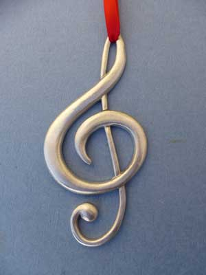 Lg Treble Clef Ornament - Lead Free Pewter