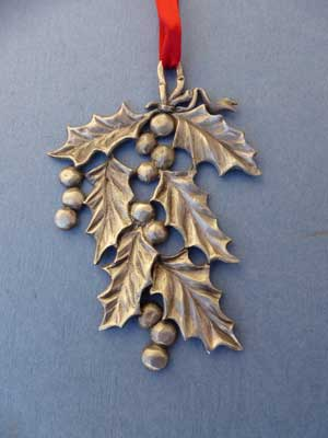Lg. Holly Ornament - Lead Free Pewter