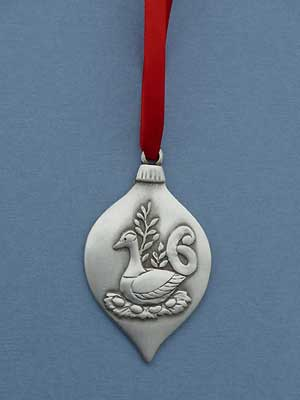 6th Day of Christmas Ornament - Lead Free Pewter