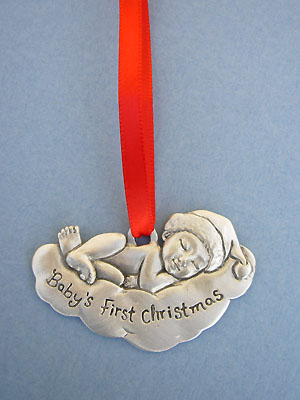 """""""Baby's 1st Christmas"""" Ornament - Lead Free Pewter"""