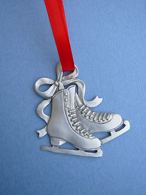 Double Figure Skate Christmas Ornament - Lead Free Pewter