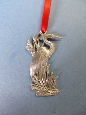 Blue Heron Ornament - Lead Free Pewter