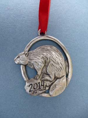 2014 Beaver Annual Ornament - Lead Free Pewter