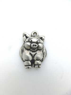 Pig Front Charm - Lead Free Pewter