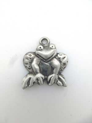Frog Face Charm - Lead Free Pewter