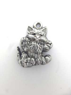 Front Facing Kitten Charm -Lead Free Pewter