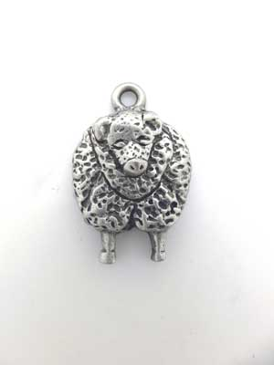 Sheep Front Charm - Lead Free Pewter