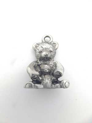 Teddy and Baby Charm - Lead Free Pewter