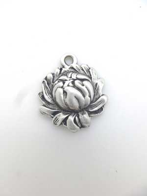 Cabbage Rose Charm - Lead Free Pewter