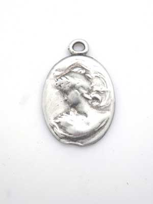 Cameo Charm - Lead Free Pewter