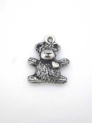 Teddy with Heart Charm - Lead Free Pewter