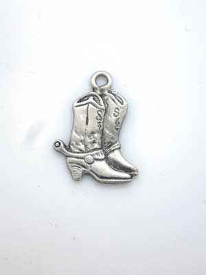 Cowboy Boots Charm - Lead Free Pewter