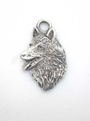 Wolf Head Charm - Lead Free Pewter