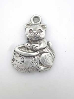 Kitten and Fish Bowl Charm - Lead Free Pewter