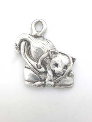 Cat in Shoe Charm - Lead Free Pewter