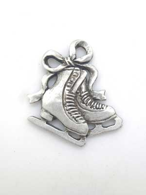 Double Figure Skate Charm - Lead Free Pewter