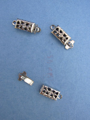 Single Hole Clasps - Nickle Plated - 3pcs
